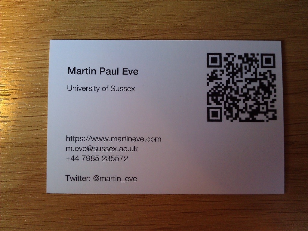 Academic Businesss Cards | Martin Paul Eve | Professor of ...